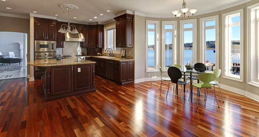 Hardwood floor in kitchen