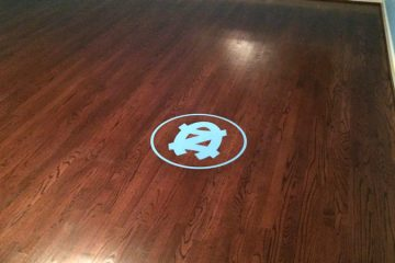 Tar Heel Medallion Inlay on Hardwood Floor