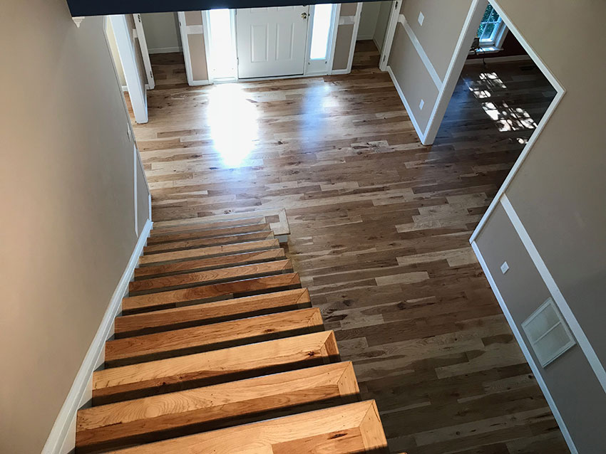 Hickory Hardwood Floor Stairs Site Finished
